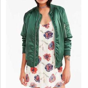 UNIF x Urban Outfitters green satin bomber jacket